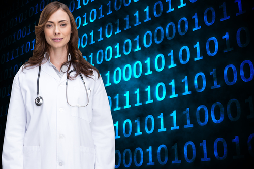 Composite image of happy brunette doctor looking at camera